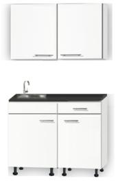 Kitchenette 110cm wit zijdeglans met een la op stelpoten incl plinten en wandkasten RAI-115