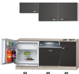 kitchenette 160cm incl vaatwasser en inbouw koelkast RAI-914