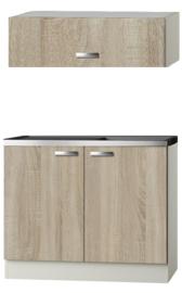 Keukenblok Padua licht eiken ruw met rvs aanrecht en spoelbak en klep bovenkast 100 x 60 cm HRG-104