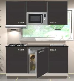 Keukenblok 180 cm Antraciet incl kookplaat, afzuigkap, inbouw koelkast en magnetron RAI-190