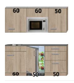 keukenblok 170cm met koelkast, magnetron en kookplaat RAI-0404