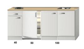 Kitchenette 190cm Wit Hoogglans incl. 2-pit kookplaat HRF-4600