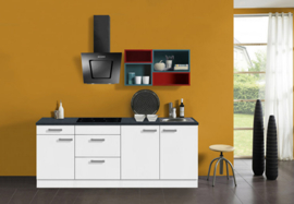 Keuken Lagos 210 cm wit hoogglans Incl. Inbouwapparatuur OPTI-126
