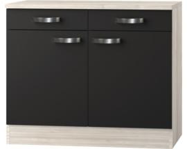 Buffetkast Faro met houten aanrecht Antraciet (BxHxD) 100,0x84,8x60,0 cm U106-9-486
