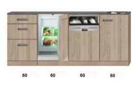 Kitchenette 240cm met inbouw vaatwasser en koelkast RAI-3939