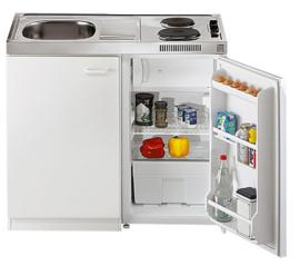 Keukenblok met aanrecht 100cm incl. kookplaat en koelkast