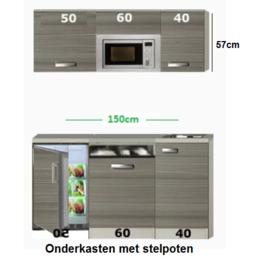 Kitchenette 150 met onderbouw koelkast, vaatwasser, combi magnetron met stelpoten RAI-580