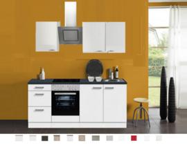 Keuken Lagos 210 cm wit hoogglans Incl. Inbouwapparatuur OPTI-125