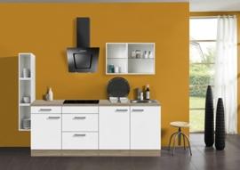 Keuken 210 cm met gekleurd wandrek Incl. Inbouwapparatuur KT222E-9-624