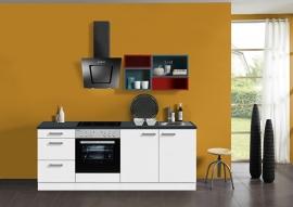 Keuken 210 cm met gekleurd wandrek Incl. Inbouwapparatuur en RVS spoelbak KT211E-9-732