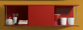 Wandkast met schuif rek Rood 150cm x 44cm RAI-456