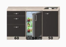 Keukenblok 160 Antraciet met drie laden incl rvs spoelbak en koelkast RAI-402