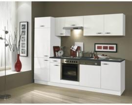 Keuken Lagos 270 cm zijdeglans wit incl. Inbouwapparatuur OPTI-126