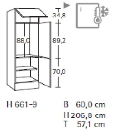 Hogekast 206,8cm voor inbouw koelkast 88cm hoog H661