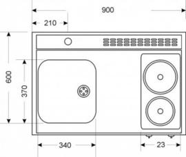 MK 90 met een deur en koelkast