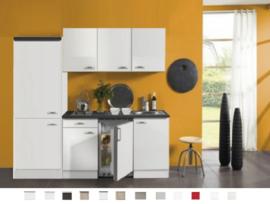 Keukenblok Lagos wit hoogglans 210 cm Incl. Inbouwapparatuur RAI-749