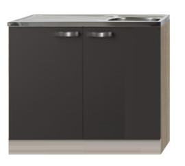 Keukenblok Faro Antraciet met RVS aanrecht en spoelbak (BxHxD) 100,0x84,8x60,0 cm SPL106-9-86