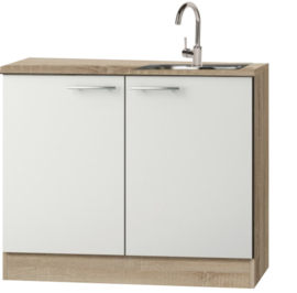 Keukenblok met houten werkblad en RVS spoelbak 100cm x 60cm OPTI-84