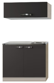 Keukenblok Faro Antraciet met rvs blad en klap bovenkast 100 x 60 cm OPTI-0103