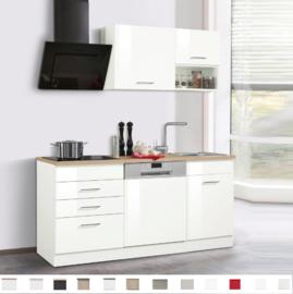 Kitchenette 160cm wit hoogglans met vaatwasser en 4-pit elektrisch kookplaat RAI-180