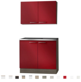 Keukenblok met RVS blad en bovenkast 100 x 60 cm OPTI-0103