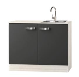 keukenblok 100cm met houten werkblad en rvs spoelbak RAI-2200