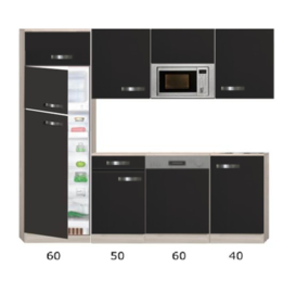 Keukenblok Antraciet mat 210 cm Incl. koelkast, magnetron, vaatwasser RAI-8458