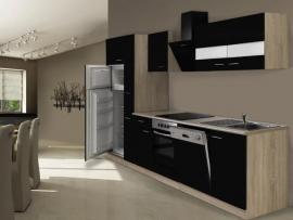 Keuken hoogglans zwart 310cm incl. Inbouwapparatuur HUS-1429