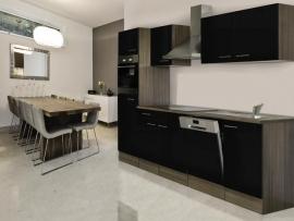 Keuken 280cm incl oven, inductie kookplaat, vaatwasser, afzuigkap, koelkast en spoelbak HUS-1598