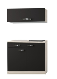 Keukenblok Faro Antraciet 100 x 60 met wandkast 100cm RAI-0021