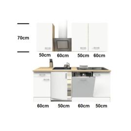 Keuken mat wit 220 cm Incl. Inbouwapparatuur HUS-10982