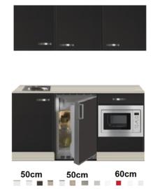 Keukenblok 160 Antraciet met wandkasten incl rvs spoelbak en koelkast en magnetron RAI-415