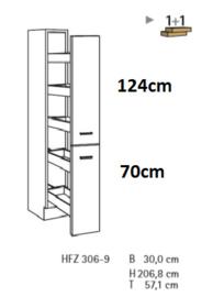Apothekerskast Faro Antraciet (BxHxD) 30,0 x 206,8 x 57,1 cm HFZ306-9-5105