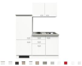 Kitchenette Wit 160cm Incl. koelkast, e-kookplaat en spoelbak HRG-595