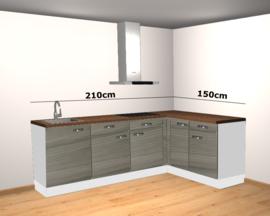 hoek keuken 210 x 150 incl afzuigkap en kookplaat RAI-446