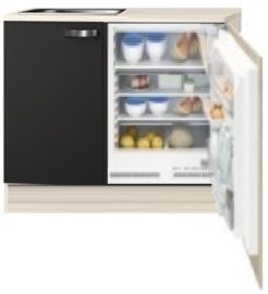 Kitchenette 110cm Antraciet mat incl inbouw koelkast RAI-1047