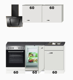 4-in-1 Kitchenette + oven + kookplaat + koelkast + bergruimte 180cm RAI-1049