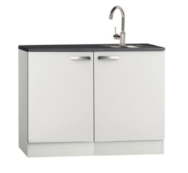 Kitchenette 100cm wit glans met vierkante design rvs spoelbak RAI-4430