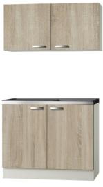 Keukenblok Padua licht eiken ruw met rvs aanrecht en spoelbak en wandkast 100 x 60 cm HRG-154