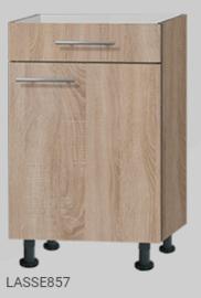 Keukenblok 160 houtnerf met stelpoten en inbouw koelkast RAI-519