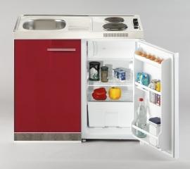 Keukenblok Imola rood hoogglans 100 x 60 cm met koelkast, e-kookplaat en RVS blad RAI-2662