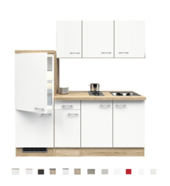 Kitchenette Pinto parel glanzend 190 cm incl. Incl. koelkast, kookplaat en apothekerskast HRG-7729