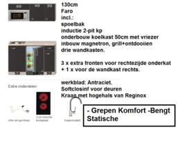 Kitchenette 130cm met combimagnetron, koelkast en kookplaat RAI-KL-9989
