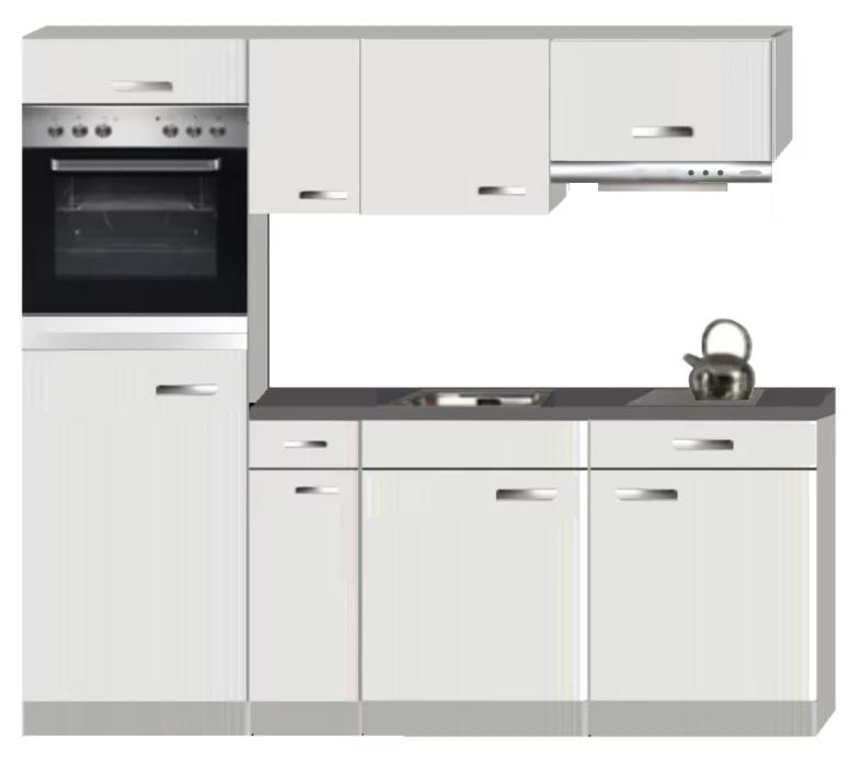 Keukenblok Lagos Wit Hoogglans 210 Cm Incl Koelkast Oven