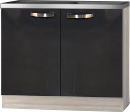 keukenblok 100cm antraciet-zwart glans met rvs aanrechtblad RAI-3329
