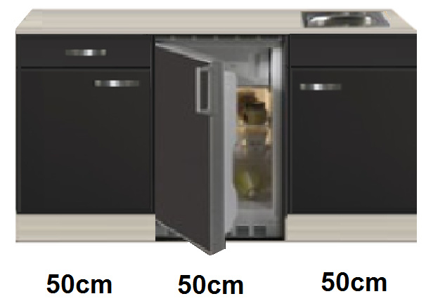 Keukenblok 150 Antraciet incl rvs spoelbak en koelkast RAI-4458