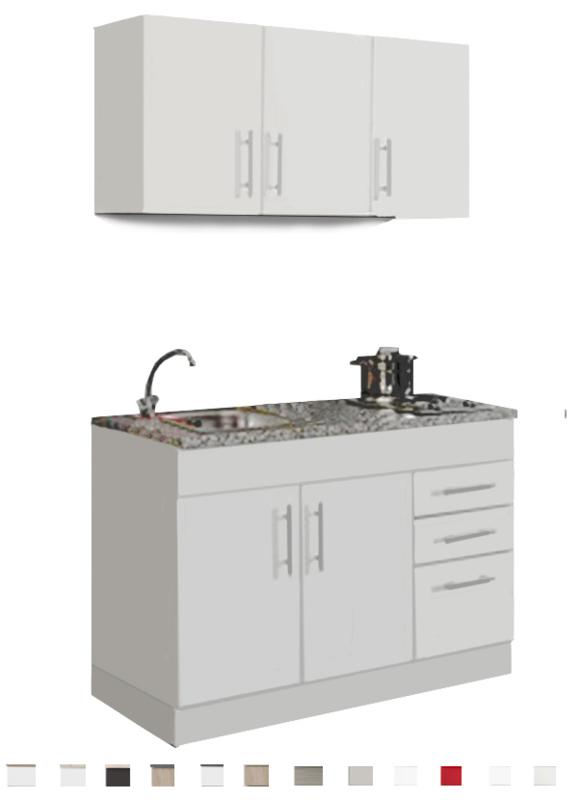 Keukenblok 120 cm x 60 cm incl. rvs spoelbak + e-kookplaat + bovenkasten en een mengkraan HRG-4399