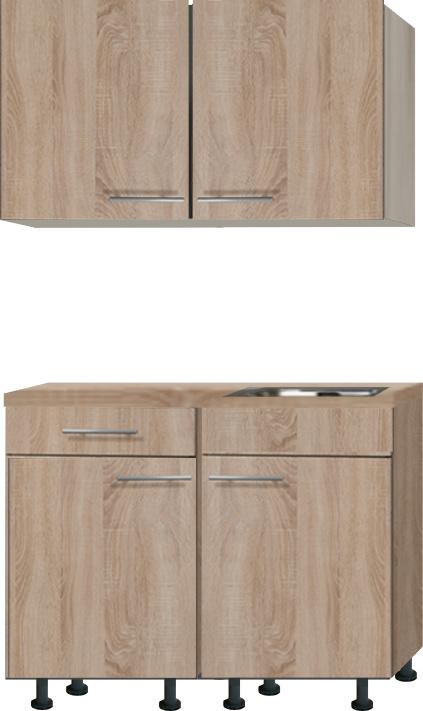 keukenblok 120cm houtnerf mat met stelpoten RAI-2202