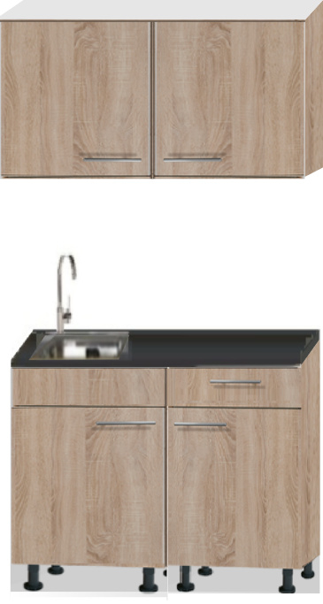 keukenblok 120cm houtnerf mat met stelpoten RAI-2203