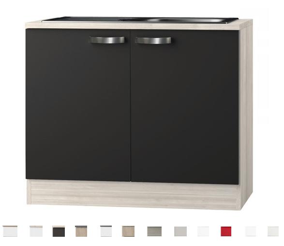 Keukenblok  Faro Antraciet met houten aanrechtblad + rvs spoelbak (BxHxD) 100,0x84,8x60,0 cm HRG-0185
